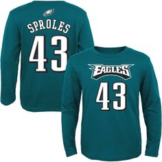 Darren Sproles Philadelphia Eagles Youth Mainliner Name & Number Long Sleeve T-Shirt - Midnight Green - $22.39
