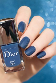 Blop: The Only Denim Blue Nail Polish You Need in Your Stash ❤️? Chill & Hip Hop Showcased - for this look at - dark blue dior nail polish❤️? Chill & Hip Hop Showcased - for this look at - dark blue dior nail polish Dior Nail Polish, Dior Nails, Cute Nail Polish, Nail Polish Designs, Nail Designs, Hair And Nails, My Nails, Nails Today, Nagellack Trends