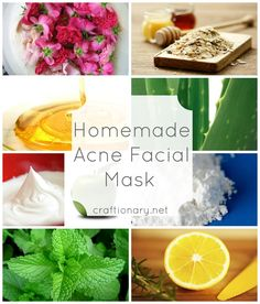 Homemade acne facial masks for skin to heal using natural and herbal remedies. Inexpensive ways to reduce acne reflux. Oatmeal, honey, lemons, apples, mint