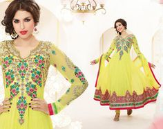 PartyWear Embroidered  Faux Georgette Yellow Salwar Kameez Dress Material