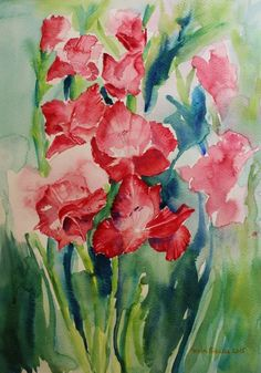Gladioli still life in watercolor by Geeta Biswas. #gladiolii #gladiolus #flowers #florals #stilllife #watercolor #originalart #contemporaryart #painting #conceptualart #art #watercolour #fineart #artfinder #buyoriginalart