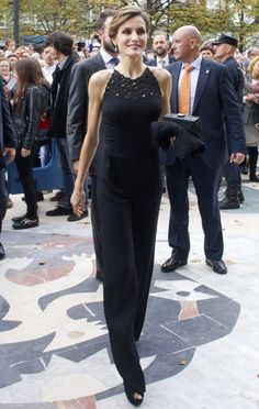 Pin for Later: Queen Letizia Ditches Classic Style For Something Seriously Daring  We're loving this chic black jumpsuit!