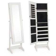 Jewelry Armoire with Mirror Finish: White - http://delanico.com/jewelry-armoires/jewelry-armoire-with-mirror-finish-white-653276919/