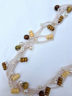 For the beach! Friendship Pearl & Wood Bead Necklace by CuriousPurplePig