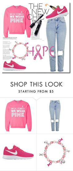 """""""We wear pink-Breast cancer"""" by niaoffcal ❤ liked on Polyvore featuring Topshop, NIKE and Avon"""
