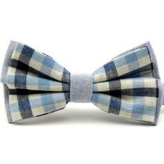 New pre-tied, double layer, blue checked bow tie. Great Reviews, Uk Seller.