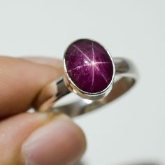 Ruby Star Gm 3.92 925 Solid Sterling Silver Ring US Size 7.5 #Handmade #Pendant