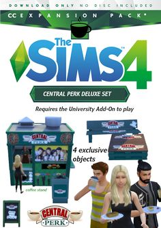 The Sims 4 Lots, Coffee Stands, Game Item, Sims 4 Mods, Sims 4 Custom Content, Sims Cc, Brand You, University, Bench