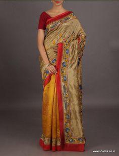 Nikita half and half fully embroidered #kantha work #puresilksaree