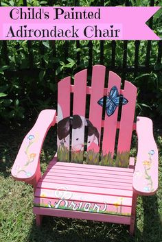Pokey Little Puppy Painted Adirondack Chair (and scroll to see the back) Painted Kids Chairs, Hand Painted Furniture, Kids Furniture, Outdoor Furniture, Pokey Little Puppy, Outdoor Chairs, Outdoor Decor, Outdoor Projects, Adirondack Chair Plans