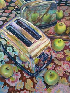 Toaster with Green Apples by Linnea Tobias Watercolor ~ 24 inches x 18 inches