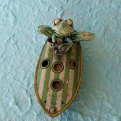 Ceramic Frog in Antique Toy Boat Sculpture by RudkinStudio on Etsy, $48.00