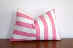 "Pink Stripes Decorative Pillow Cover- Pink and White- Stripes- 12x18"" Lumbar"