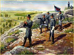 Brigadier General G. K. Warren, Chief Engineer of the US Army. UU., Scanning the Plum Run Valley