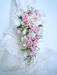 Bridal bouquet of pink waterfall, white rose, calla, arum and buttonhole for . Cascading Wedding Bouquets, Cascade Bouquet, Bride Bouquets, Bridal Flowers, Flower Bouquet Wedding, Floral Bouquets, Romantic Wedding Colors, Wedding Flower Guide, Floral Arrangements