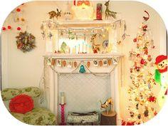 vintage Christmas mantel by valeriekathryn, via Flickr