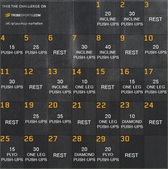 30 Day Pushup Fitness Challenge