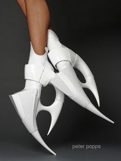 It's definitely not possible to walk in these, but wow. CUBiC shoes by Peter Popps.