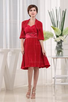 Sweetheart Empire Waist In Knee-Length Pleated Elastic Satin Dress With Match Half Length Jacket