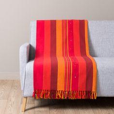 Manta de algodón rojo y naranja 160 x 210 ATLAS SAFRAN