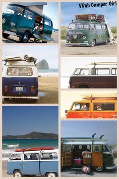 VW bay surf buses by VDub Camper Girl.