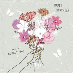 A Happy Birthday Card - Female - Birthday Happy Birthday Quotes For Her, Happy Birthday Ecard, Happy Birthday Celebration, Happy Birthday Flower, Happy Birthday Pictures, Happy Birthday Messages, Birthday Greetings, Birthday Images For Facebook, Birthday Images For Her
