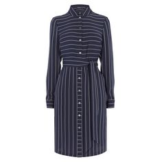 PINSTRIPE SHIRTDRESS ❤ liked on Polyvore featuring dresses, navy blue dress, long day dresses, navy pinstripe dress, collared shirt dress and navy blue shirt dress