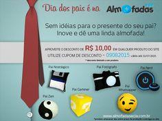 Promoção dia dos pais. Esse ano dê um presente original, chega de meias, cuecas e gravatas! Venha conferir no nosso site.  www.almofadasecia.com.br