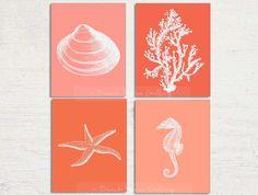 Beach Decor Coral Prints Seashell Starfish by BeachHouseGallery, $27.99