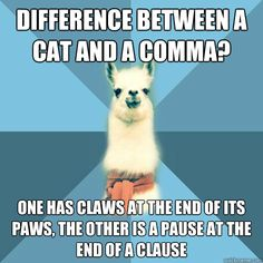 difference between a cat and a comma one has claws at the e - Linguist Llama