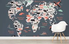Safari kids map wallpaper mural muralswallpaper pinterest this fun and educational world map is perfect for your childs bedroom or playroom featuring popular landmarks and regional animals there is plenty to gumiabroncs Gallery