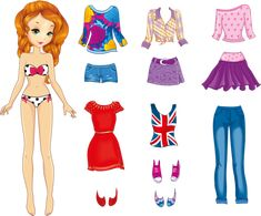 Stock vector of 'Vector illustration of paper red hair doll and set of casual clothes' Disney Paper Dolls, Barbie Paper Dolls, Vintage Paper Dolls, Fabric Dolls, Rag Dolls, Paper Dolls Clothing, Doll Clothes, Cute Girl Outfits, Casual Outfits