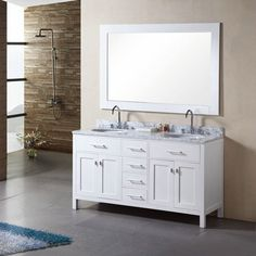double sink bathroom cabinet, solid wood construction