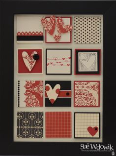 'Love Letters' Framed Art Squared handmade by Sue Wdowik - Independent Stampin' Up! Demonstrator. www.nighnighbirdie.blogspot.com