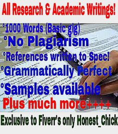 write your ACADEMIC and Research papers by honest_chick