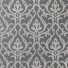 Dazzled Wallpaper in Steel from Candice Olson -Timeless damask in a gorgeous modern metallic.
