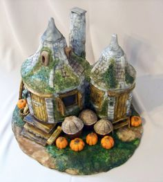 "Hagrid's Hut - 6 and 5"" round cakes covered in fondant."