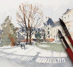 @hillkurtz в Instagram: «Jardin du Luxembourg, Paris. #aquarell #art #painting #watercolor #watercolour #sketch #paint #drawing #sketching #sketchbook #travelbook #archisketchery #sketchaday #sketchwalker #sketchcollector #traveldiary #topcreator #usk #urbansketch #urbansketchers #скетчбук #скетч #скетчинг #pleinair #aquarelle #watercolorsketch #usk #architecture #painting #illustration