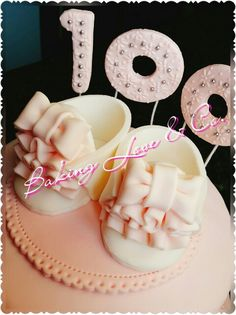 100 days Baby girl shoes cake