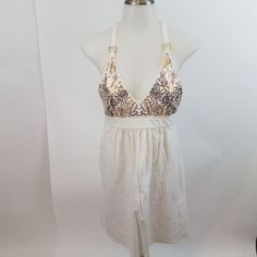 1941da23e5 Victorias secret dress bra tops halter white gold sequin tie S womens solid   VictoriasSecret