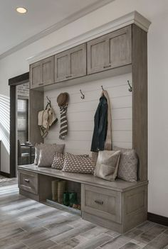 Wall Lift and Stay-Medallion Cabinets. Love for mud room