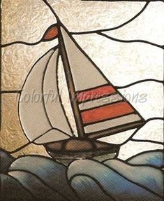 Sailboat Faux Stained Glass Window Film - Colorful Impressions