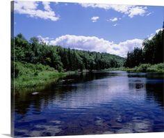 Premium Thick-Wrap Canvas Wall Art Print entitled New York, Adirondack State Park, Adirondack Mountains, Raquette river near Long Lake, None