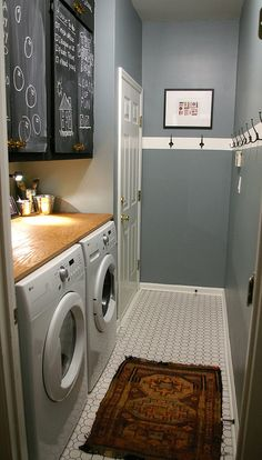 laundry room upgrade Paint: Behr (stone fence) Tile: Daltile at Home Depot, Charcoal grout