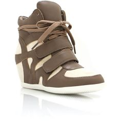 combo high-top wedge sneakers ($32) found on Polyvore