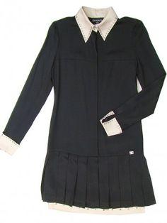 Chanel Black Silk Drop Waist Dress