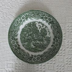 Vintage plate 10.5 green pattern The Constable Series by & Vintage china plates: 1 saucer \u0026 2 side plates English Ironstone ...