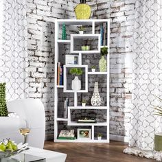 Shop Furniture of America Tribeca Bookcase/ Display Cabinet - On Sale - Overstock - 21426939 - Cappuccino White Bookshelves, Decorate Bookshelves, Bookcases, Geometric Shelves, Black Furniture, Modern Furniture, Furniture Deals, Home Office Design, Office Decor