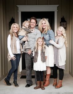 Idea for Christmas Photo Card Pose - Gather the family on your front porch!