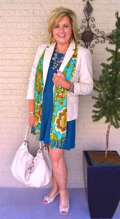 50 IS NOT OLD | HOW TO STYLE A DRESS SERIES, PART 4 | Work Appropriate | Bright & Colorful | Accessories | Blazer | Versatile Dress | Fashion over 40 for the everyday woman